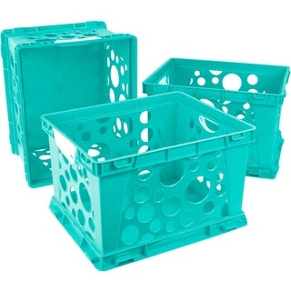 Storex Premium File Crate with Handles, Teal, 3-Pack