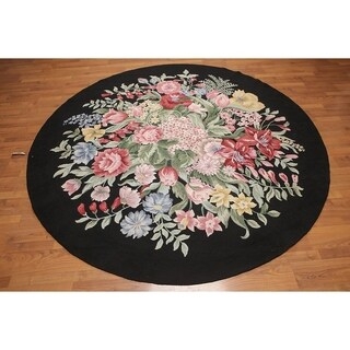 Hand Hooked Traditional Floral Area Rug - 8'x8'