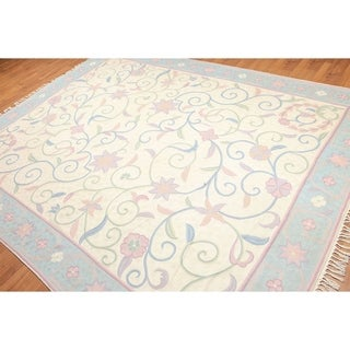 Transitional Chainstitch French Needlepoint Area Rug - 8'x10'