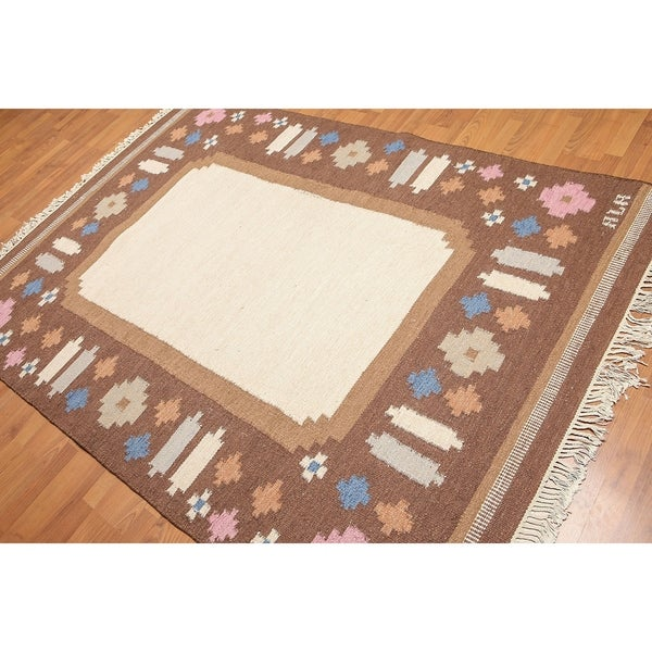 Shop Eclectic Modern Hand Woven Flatpile Dhurrie Area Rug