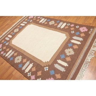 """Eclectic Modern Hand-Woven Flatpile Dhurrie Area Rug - 5'6""""x7'8"""""""