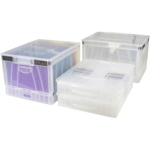 Storex Folding Storage Cube with Lid / Clear (4 units/pack)