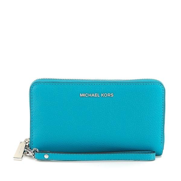 c5633d322b3f ... Michael Kors Mercer Large Leather Smartphone Wristlet - Tile Blue ...
