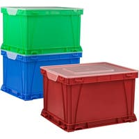 Storex Storage and Filing Cube, Assorted Colors/Clear, 3-Pack