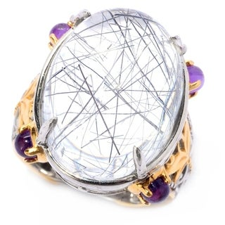 Michael Valitutti Palladium Silver Tourmalinated Quartz & Amethyst Cocktail Ring