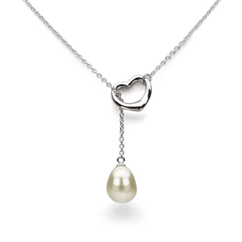 """DaVonna Sterling Silver Open-Heart Chain 9-10mm Freshwater Pearl Necklace, 21"""""""
