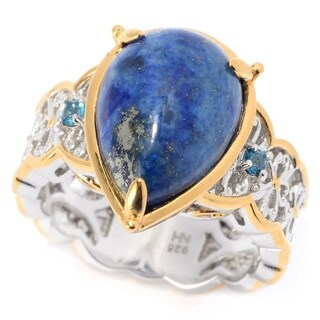 Michael Valitutti Palladium Silver Lapis & London Blue Topaz Cocktail Ring