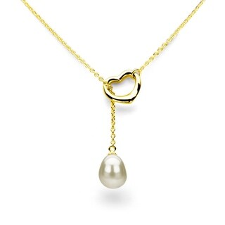"""DaVonna 18k Yellow Gold Plated Silver Open Heart Shape 9-10mm Freshwater Pearl Chain Necklace, 21"""""""