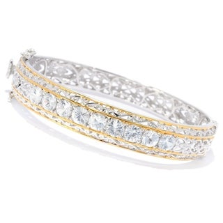 Michael Valitutti Palladium Silver White Zircon Nine-Stone Bangle Bracelet (3 options available)