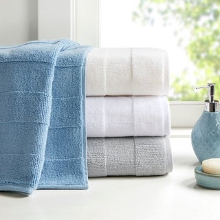 Madison Park Signature Parker Luxury Stripe Jacquard Zero Twist 600GSM Cotton Towel 6-PC Set