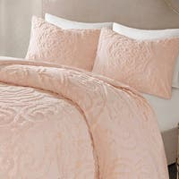 Madison Park Virginia Blush 3-Piece Tufted Cotton Chenille Medallion Comforter Set