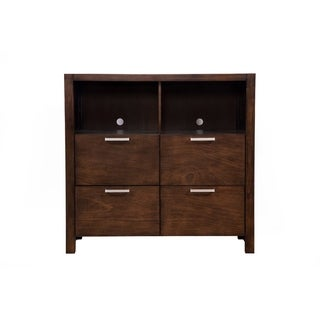 TV Media Chest With 4 Drawers In Wood Chestnut Brown