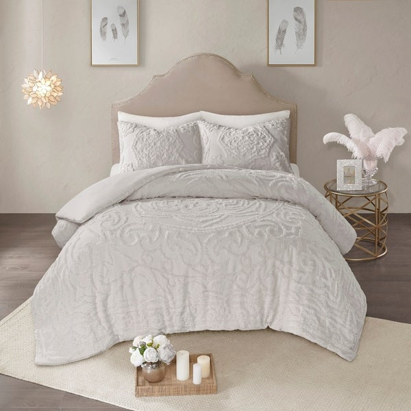 Madison Park Virginia Grey 3-Piece Tufted Cotton Chenille Medallion Duvet Cover Set