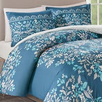 Madison Park Melora Navy 3 Piece Cotton Printed Reversible Duvet Cover Set