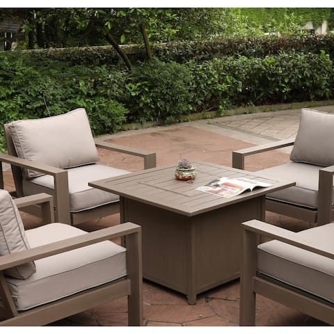 Havenside Home Katalla 36-inch Square Chat Set with Propane Firepit Table