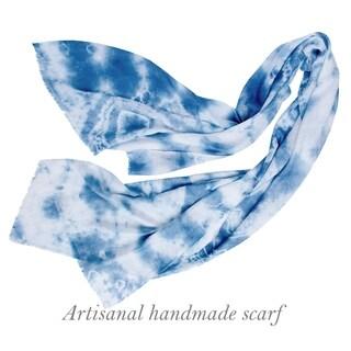 Hand Dyed Shibori Scarf, Soft Silk Linen Scarf, Lightweight Shawl, All Seasons Shawl, Handmade Scarf