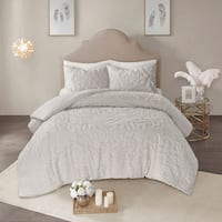 Madison Park Virginia Grey 3-Piece Tufted Cotton Chenille Medallion Comforter Set