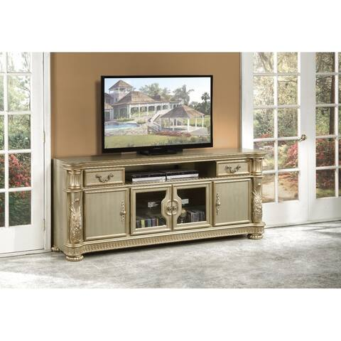 Alluring TV Stand, Gold Patina & Bone