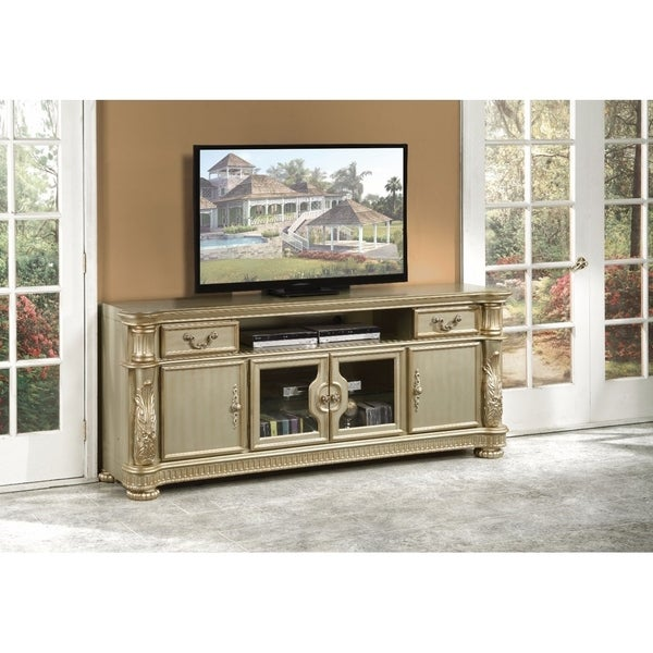 Alluring TV Stand, Gold Patina & Bone. Opens flyout.