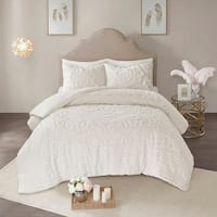 Madison Park Virginia Ivory 3-Piece Cotton Chenille Medallion Comforter Set