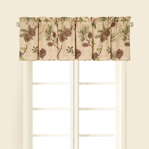 Sierra Retreat Brown Pinecone Window Curtain Valance Set 2 - 15.5 x 72