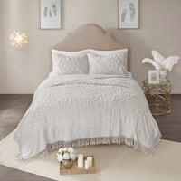 Madison Park Virginia Grey 3-Piece Tufted Cotton Chenille Medallion Fringe Coverlet Set