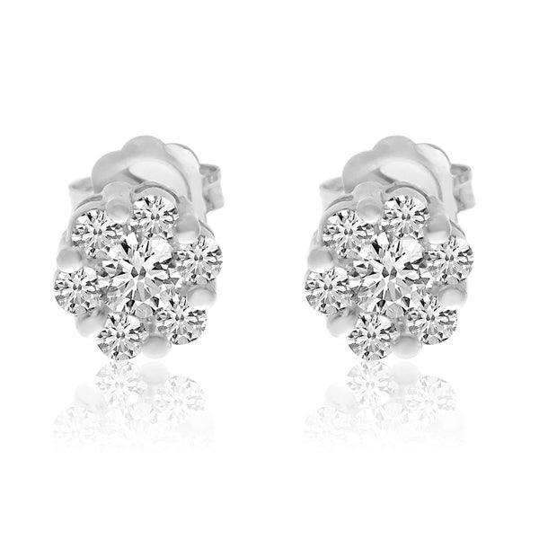 14k White Gold Diamond Clustaire Earings