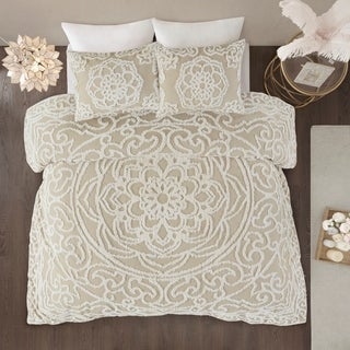 Madison Park Virginia Ivory 3-Piece Tufted Cotton Chenille Medallion Duvet Cover Set