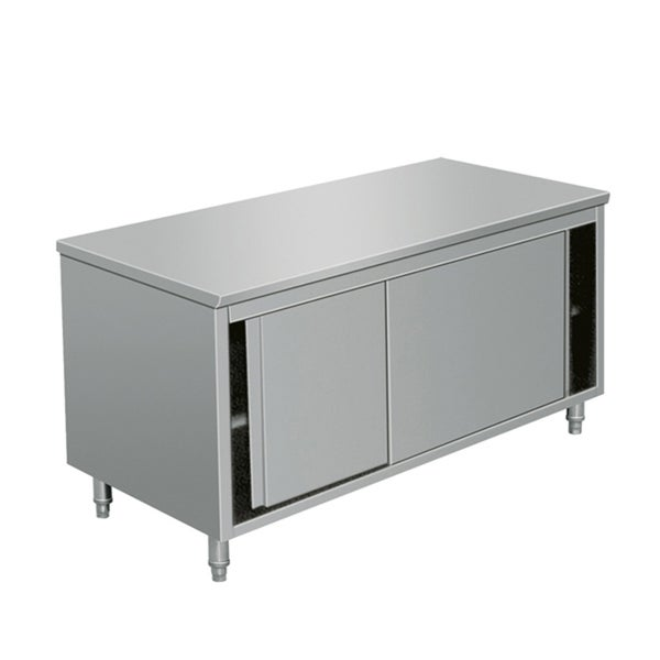 Eq Kitchen Line Stainless Steel Prep Work Table Storage Cabinet Sliding Door 64 Lx28 Wx34 H Free Shipping Today 21752031