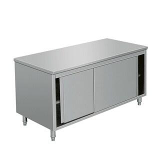 """EQ Kitchen Line Stainless Steel Prep Work Table Storage Cabinet Sliding Door 64""""Lx28""""Wx34""""H"""