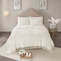 Madison Park Virginia Ivory 3-Piece Cotton Chenille Medallion Fringe Coverlet Set