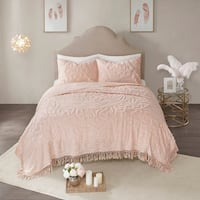 Madison Park Virginia Blush 3-Piece Tufted Cotton Chenille Medallion Fringe Coverlet Set