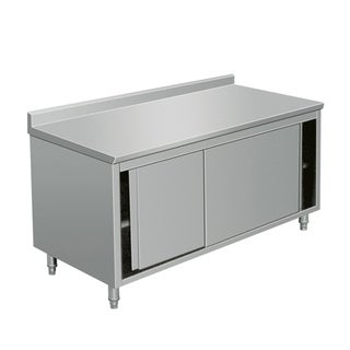 """EQ Kitchen Line Stainless Steel Prep Work Table Storage Cabinet with Door 48""""Lx28""""Wx38""""H"""