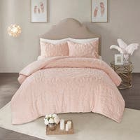 Madison Park Virginia Blush 3-Piece Tufted Cotton Chenille Medallion Duvet Cover Set