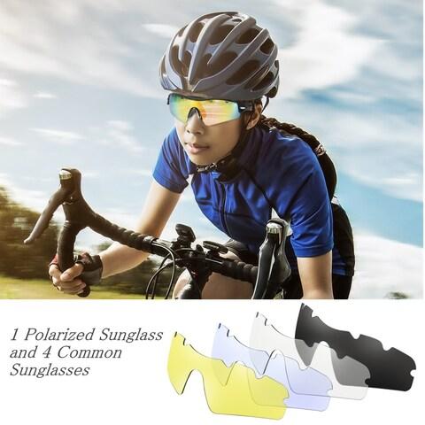 Men's Sunglass Polarized Sunglass Cycling Sunglass - Silver - Medium