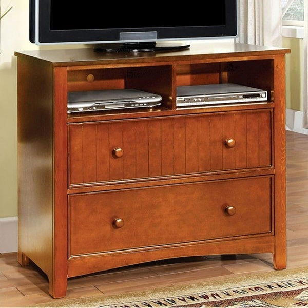 Transitional Style Bedroom Furniture: Shop Transitional Style Wooden Media Chest, Oak Brown