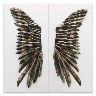 """""""The Wings"""" Primo Mixed Media Iron Wall Sculpture on Canvas - Diptych"""