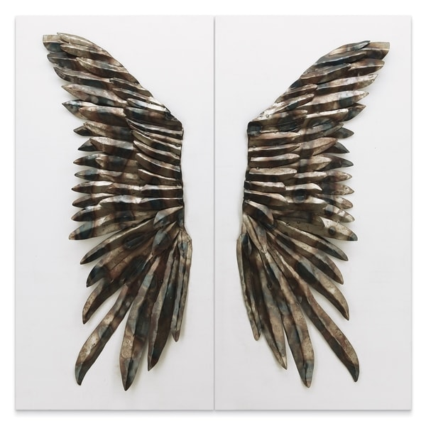 """The Wings"" Primo Mixed Media Iron Wall Sculpture on Canvas - Diptych"