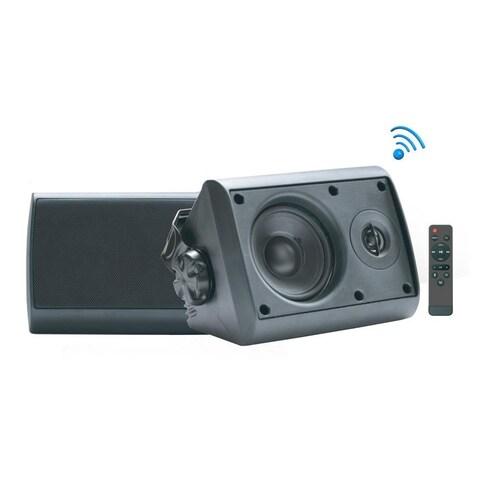Pyle Indoor/Outdoor Wall Mount Speaker - Waterproof Rated with Built-in Bluetooth - Black (6.5, 300 Watt)