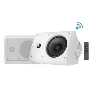 Pyle Indoor/Outdoor Wall Mount Speaker - Waterproof Rated with Built-in Bluetooth- White (4.0 -inch, 200 Watt)