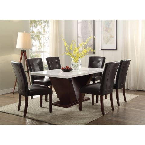 Prevailing Dining Table, White Marble & Walnut Brown