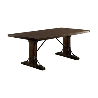 Traditional Dining Table, Rustic Walnut Brown