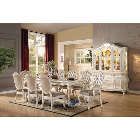 Alluring Dining Table, Marble & Pearl White