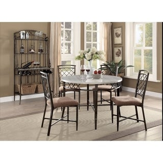 Smart Looking Dining Table, Faux Marble & Antique Brown