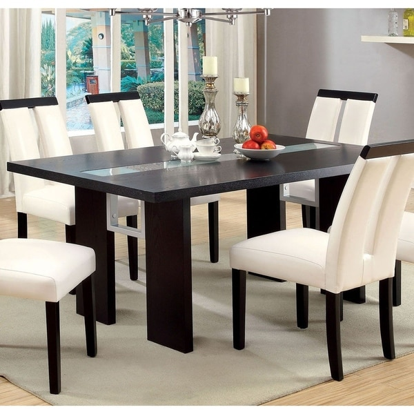 Shop Contemporary Glass Insert Dining Table, Black   Free Shipping Today    Overstock   21753011