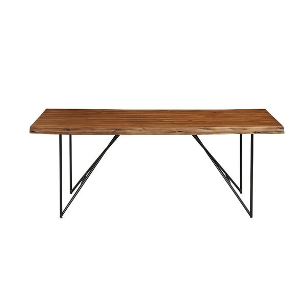 Live Edge Acaia Wood Dining Table With Metal Legs Brown And Black Free Shipping Today 21753016
