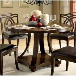 Transitional Round Dining Table, Dark Walnut Brown