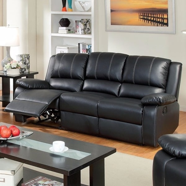 Leatherette Three Seater Recliner Sofa, Black