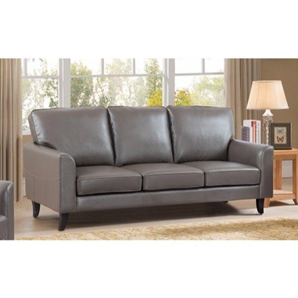Elegant Pu Leather Sofa With Velvety Cushion