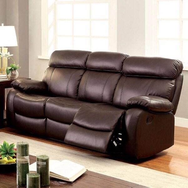 Top Grain Leather Recliner Sofa, Brown
